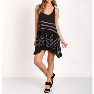 Free People Voile & Lace Trapeze Slip Black Dress Medium